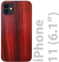 """iATO iPhone 11 Wood Case. Real Rose Wood iPhone 11 Case Wood. Minimalistic Classic Dark Wood Case for iPhone 11 6.1"""" {New 2019} Supports Wireless Charging – Natural Wooden & Black Polycarbonate Bumper"""