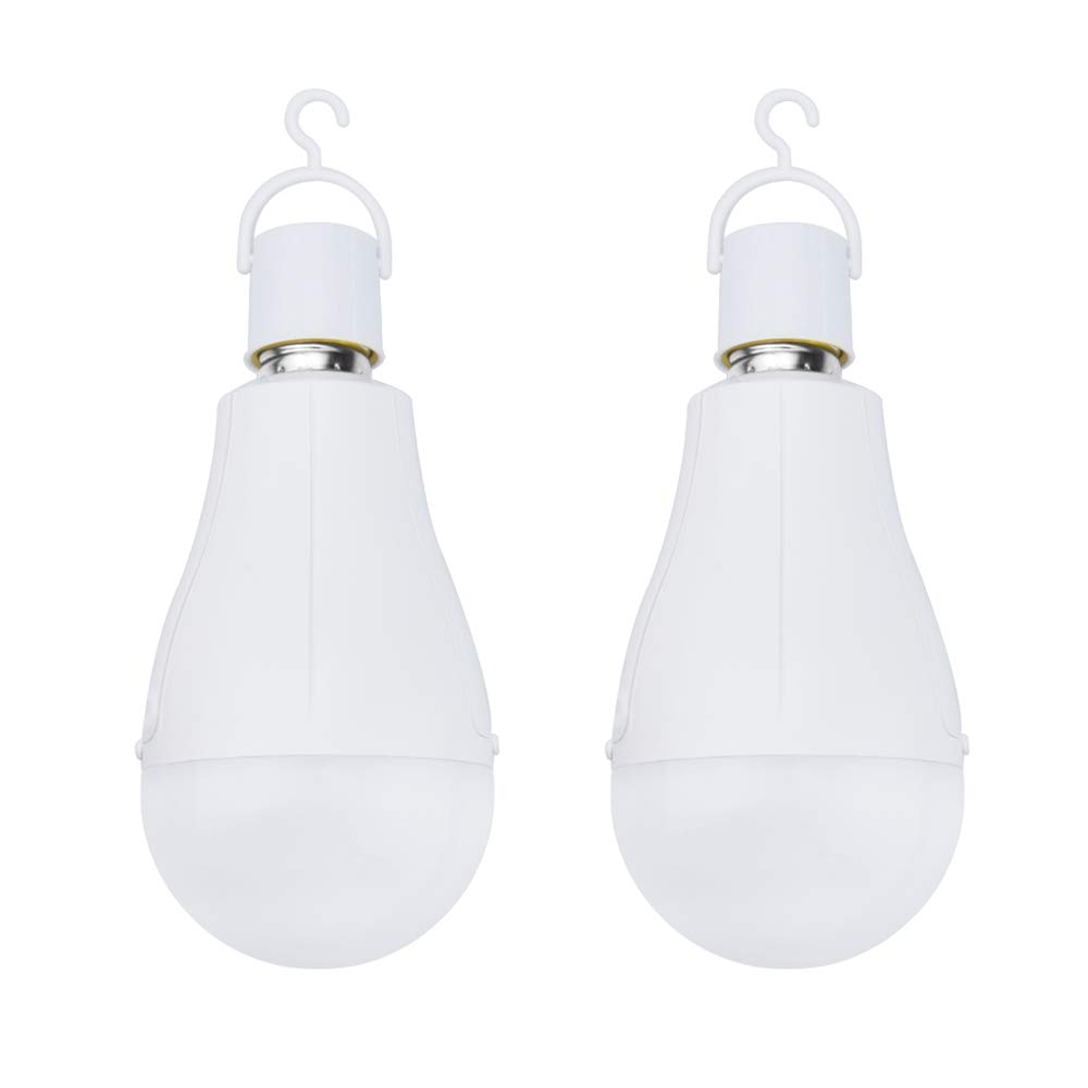 Luxvista Emergency LED Light Bulbs with Batteries - Hurricane Supplies Lamps 15W E26 G80 Camping Light Bulbs with Hook Backup Emergency Light for Power Outage Daylight 6500K (2-Pack)