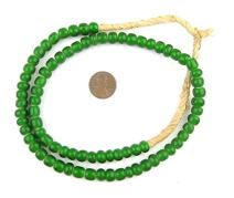 White Heart Beads - Full Strand of Glass African Trade Beads - The Bead Chest (8mm, Green)