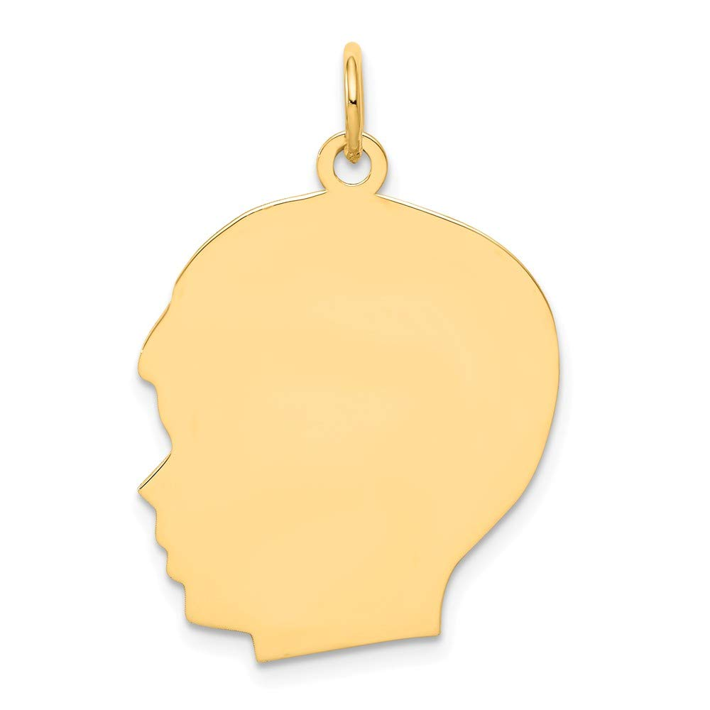 14k Yellow Gold Large .009 Gauge Facing Left Engravable Boy Head Pendant Charm Necklace Disc Girl Fine Jewelry For Women Gifts For Her