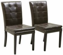 Christopher Knight Home Crayton Leather Dining Chairs, 2-Pcs Set, Chocolate Brown