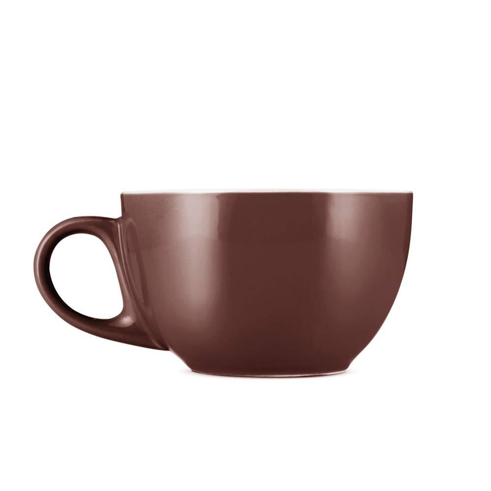 Espresso Parts Premium 12oz Latte Cups with Saucers I Set of 2 Cappuccino Mugs I Porcelain Superior To Ceramic Or Stoneware I Cappuccino Cups Set I Brown Latte Mugs For Latte Art
