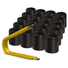 ColorLugs Vinyl LugCap Lug Nut Cover Black | Flexible Fit Lug Nut Cap | Fits 17mm Wide x 1 Inch deep | Pack of 25 & Deluxe Extractor | Available in a Variety of Colors and Sizes | Made in The USA