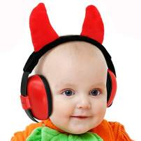 Baby Ear Protection Ear Muffs for 3 Months to 2+ Years Noise Reduction Hearing Protection for Infant and Toddlers with Devil Horns. (Red2)