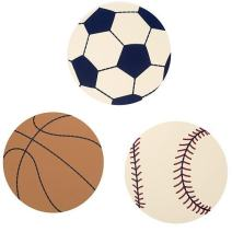 NoJo Play Ball, 3-Piece Wood Wall Art, Navy/Red/Indigo/Ivory/Brown