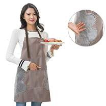 WOWSEA Waterproof Aprons - Convenient Pocket Durable Stripe Kitchen and Cooking Ultra-Thin Apron for Petite Women Stripe Chef Apron for Cooking,Grill and Baking