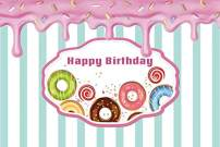 Baocicco 5x4ft Polyester Happy Birthday Backdrop Cartoon Doughnut Lollipops Chocolate Molten Ice Cream Photography Background Sweet Party Girl's Birthday Party Decorations Sweet Girls Portrait