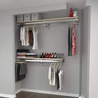 "Arrange A Space RCMBY Elite 80"" Top and Bottom Shelf Rod kit with Long Hang Maple Closet System, 85x13x6 inch"