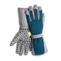 Dig It High 5 Long Cuff Gardening Glove with Fingertip Pillow-top Protection for All Types of Gardening Chores and Other DIY Activities (X-Large, Blue/Grey)