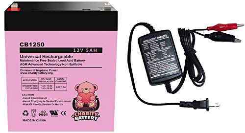 Charity Battery 12V 5Ah CB1250 Rechargeable SLA Sealed Lead Acid Replacement Battery (Battery & Charger)