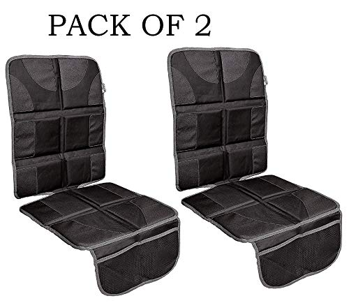 (2-Pack) Prorighty Best Auto Seat Protector Ugraded The Largest and Thickest Pad for Extra Protection Coverage for car Van or SUV Black with Grey Trim for Kids Adults Pets