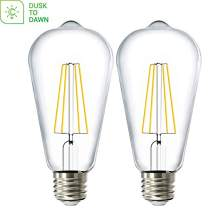 Sunco Lighting 2 Pack ST64 LED Bulb, Dusk-to-Dawn, 7W=60W, 2700K Soft White, Vintage Edison Filament Bulb, 800 LM, E26 Base, Outdoor Decorative String Light - UL Listed