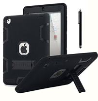 iPad 2 Case,iPad 3 Case,iPad 4 Case, AICase Kickstand Shockproof Heavy Duty Rubber High Impact Resistant Rugged Hybrid Three Layer Armor Protective Case with Stylus for iPad 2/3/4 (Black)