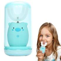 Itomoro u-Shaped Kids Automatic Toothbrush,Soft Bristles Specially Designed for Kids,2 Brush Heads of Different Sizes,3-Speed Cleaning Mode,Gargle Cup/Low Noise(Blue)