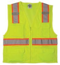 ML Kishigo 1195 Ultra-Cool Polyester Mesh Multi-Pocket Vest, Extra Large, Lime