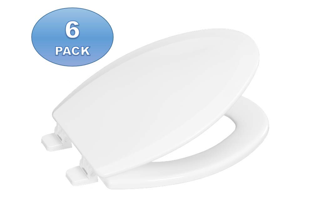 6 Pack - Centoco 900-001 Elongated Wooden Toilet Seat, Heavy Duty Molded Wood with Centocore Technology, White