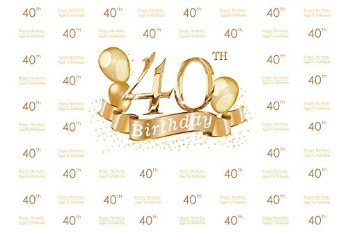 Baocicco 10x8ft Photography Backdrop for 40th Birthday Party Background Happy Birthday Aged to Perfection Golden Balloons Banner Happy 40th Birthday Photo Shooting Props Booth