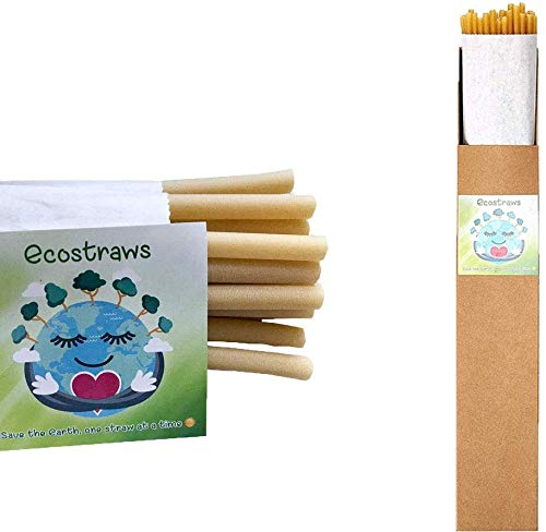 Green Piece Multi-Use Combo of Thick and Thin Eco-Friendly Pasta Straws Made From 100% Durum Wheat Semolina – Perfect for Sipping Juice and Smoothies – Pack of 50 thin and 24 thick straws