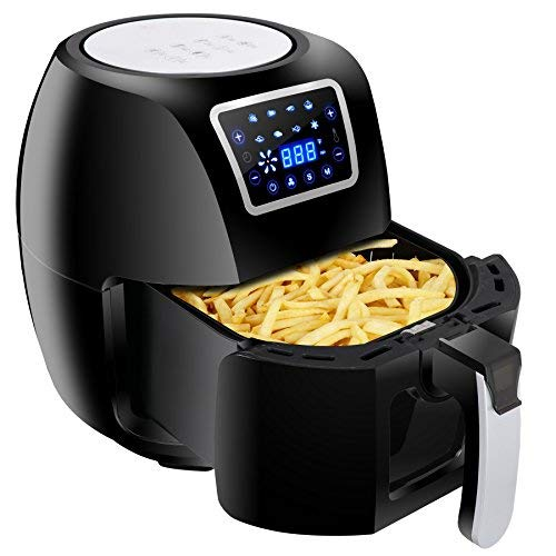 ZENY Electric Air Fryer 1800W 5.8QT Cooking Tool For Healthy Oil Free Cooking w/Time & Temperature Control Dishwasher Safe Parts (Black)