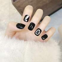 Unsutuo Square Glossy Fake Nails with Press on Nails Short Full Cover Gel False Nails Black Acrylic for Women and Girls(24Pcs)