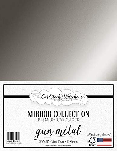 Mirror Gun Metal Metallic Foil Mirror Cardstock 8.5 X 11 inch - 100 lb / 12Pt - 10 Sheets from Cardstock Warehouse