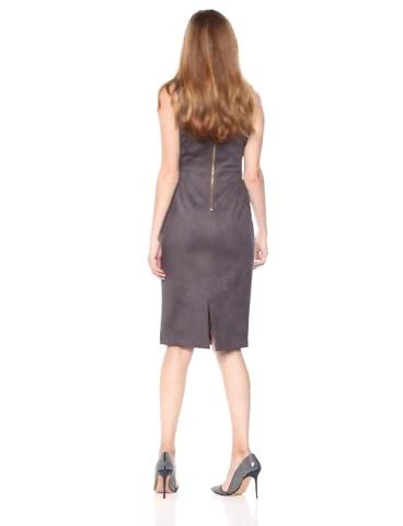 Adrianna Papell Women's Elbow Sleeve Scuba Suede Sheath Dress