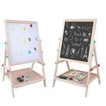 EBTOOLS Standing Kids Art Easel, Wooden Double Sided Flip-Over Children's Drawing Painting White Black Easel Board with Eraser Chalk Pen for Kids Educational Gift