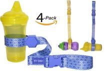 Sippy Cup Straps for Baby Bottle Toy Leash 4 Pack for Stroller High Chair Strap (Blue/Yellow)