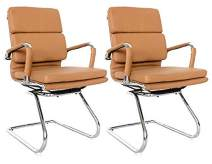 Classic Replica Visitors Chair - Vegan Leather, Thick high Density Foam, Chrome arms with Protective arm Sleeves with Zip Available. (Camel)