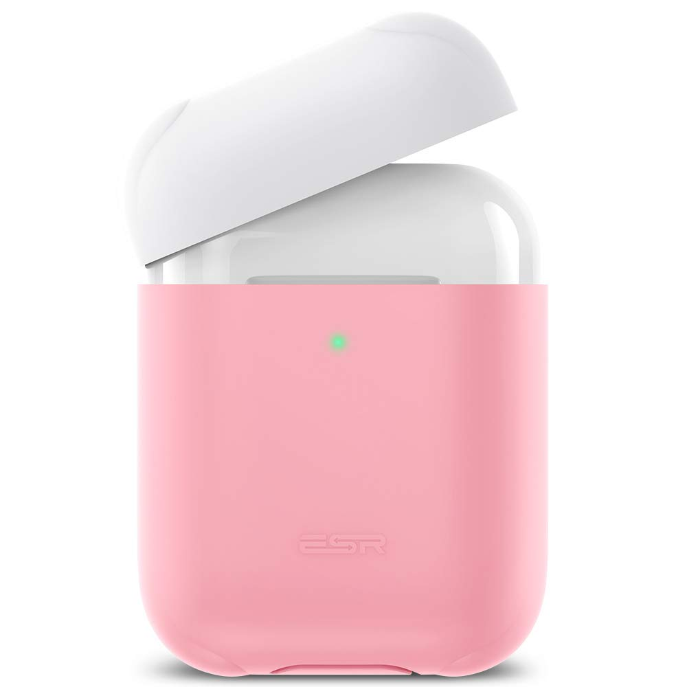ESR Protective Silicone Cover, for AirPods Charging Case, Hingeless, Slim-Fit, Visible Front LED, Shock and Scratch-Resistant, ESR Breeze Plus Series Ultra-Thin Case Skin for AirPods 1/2, Pink