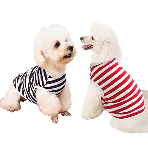 Xqpetlihai 2 Pieces Dog Striped T-Shirt Breathable Soft not Shrink Cotton Polyester Pet Apparel Black&Red Stripe Dog Sweatshirt Summer for Small Medium Dogs Puppy Cats(XXL)