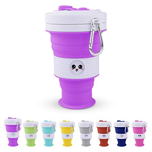 Collapsible Cup - 18 oz, Silicone Cups, Reusable Cup, Camping Cup by MOM'S KITCHEN (Purple, 550ml)
