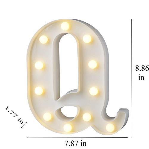 bemece LED Alphabet Letter Lights, Marquee Decorative Warm Plastic Light up Sign (Battery Included)- Letter Q