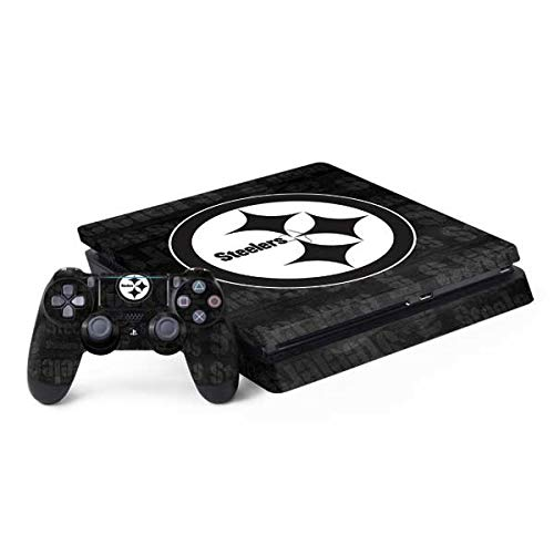 Skinit Decal Gaming Skin for PS4 Slim Bundle - Officially Licensed NFL Pittsburgh Steelers Black & White Design