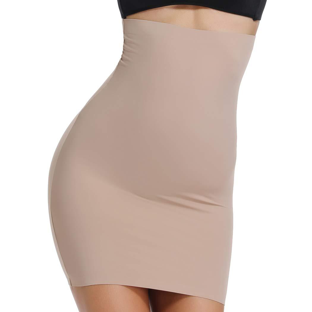 WOWENY Half Slip for Under Dresses Shapewear High Waist Skirt Halfslip Dress for Women Tummy Control