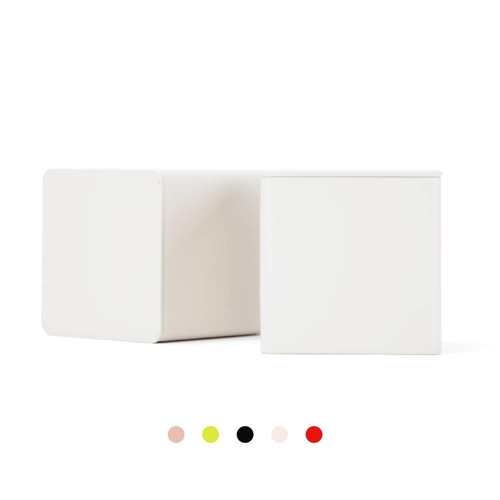 Tianhui Colorful Square Tin Can Empty Cube Steel Box Storage Container for Treats, Gifts, Favors, Loose Tea, Coffee and Crafts, Mini Portable Small Storage Kit (Off White, 2-Small)