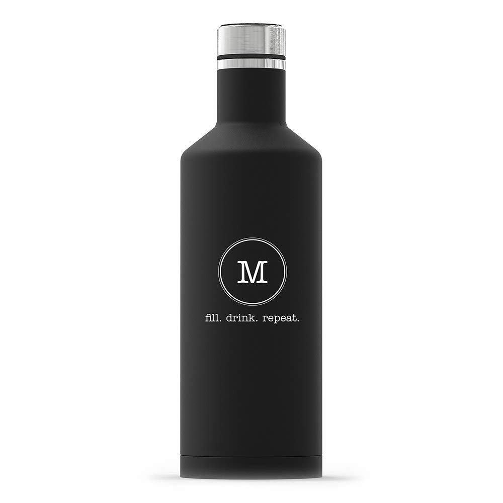 Weddingstar Personalized Stainless Steel Insulated Water Bottle 17oz – Customizable Reusable Durable Eco-Friendly Thermal Metal Canteen for Hot or Cold Drinks 100% BPA-Free – Circle Monogram Black