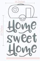 Camper Wall Art Home Sweet Home Vinyl Stickers Camping RV Decals 14x23-Inch Storm Gray