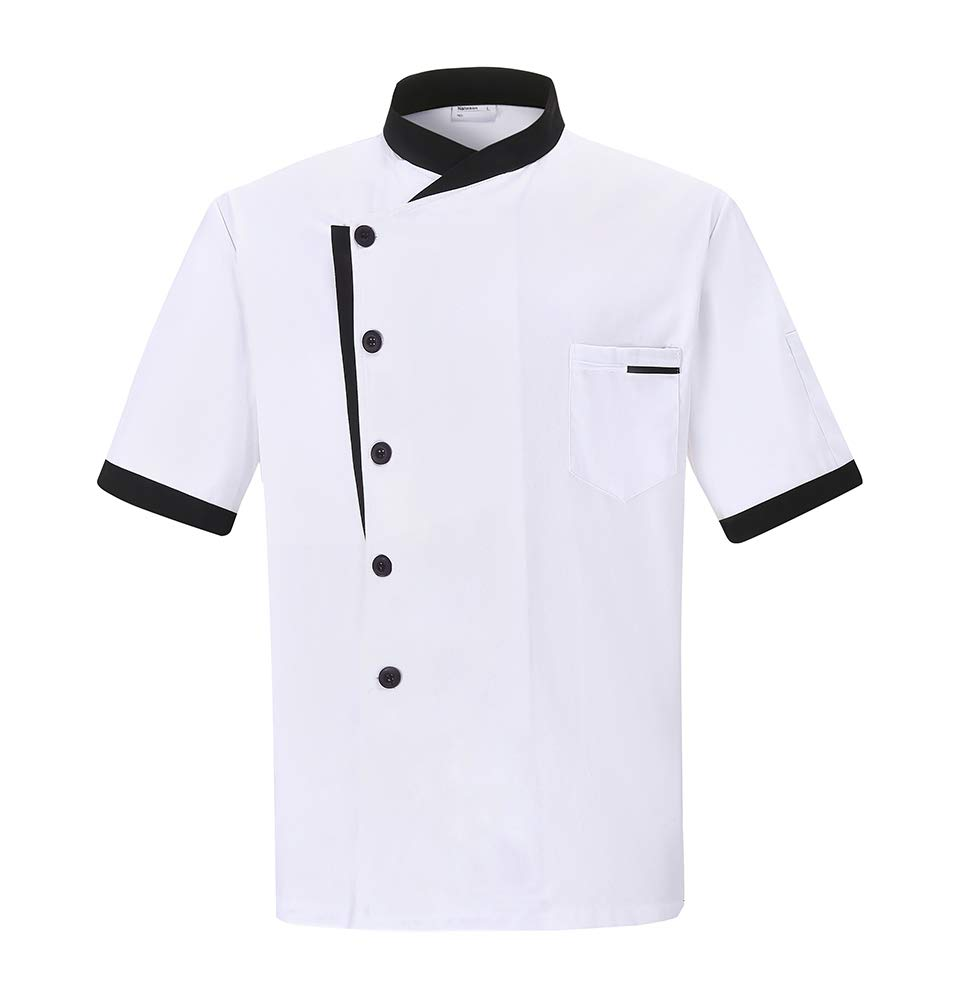 Nanxson Unisex Chef Jacket Men's Chef Coat Restaurant Kitchen Chef Uniform CFM0016 (White Shortsleeve, M)