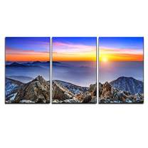 """wall26 - 3 Piece Canvas Wall Art - Beautiful Landscape at Sunset on Deogyusan National Park in Winter,South Korea. - Modern Home Decor Stretched and Framed Ready to Hang - 16""""x24""""x3 Panels"""