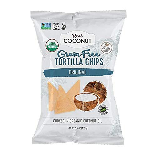 Real Coconut Grain Free Coconut Flour Tortilla Chips, Original, 5.5 Ounces