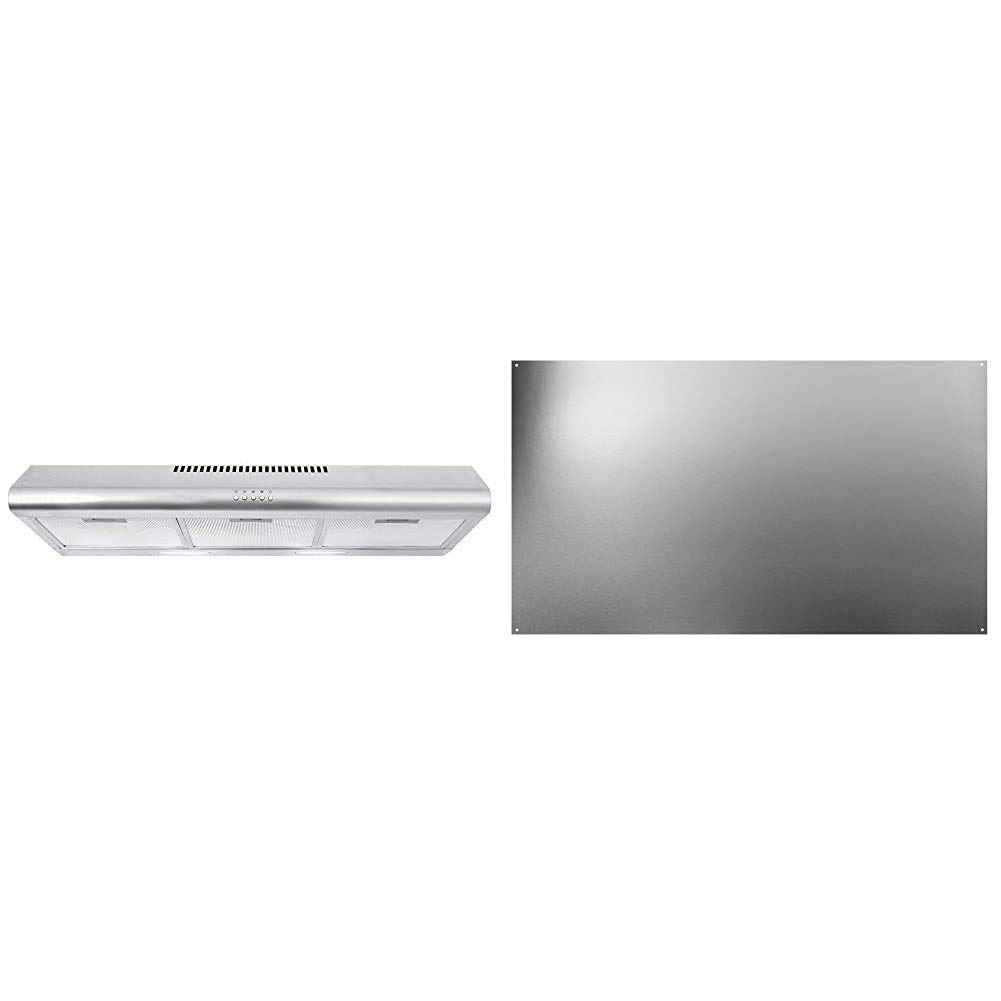 """Cosmo COS-5MU36 36 in. Under Cabinet Range Hood Ductless Convertible Duct, Stainless Steel, 36 inch & Broan-NuTone SP3604 Backsplash Range Hood Wall Shield for Kitchen, Stainless Steel, 24"""" x 36"""""""