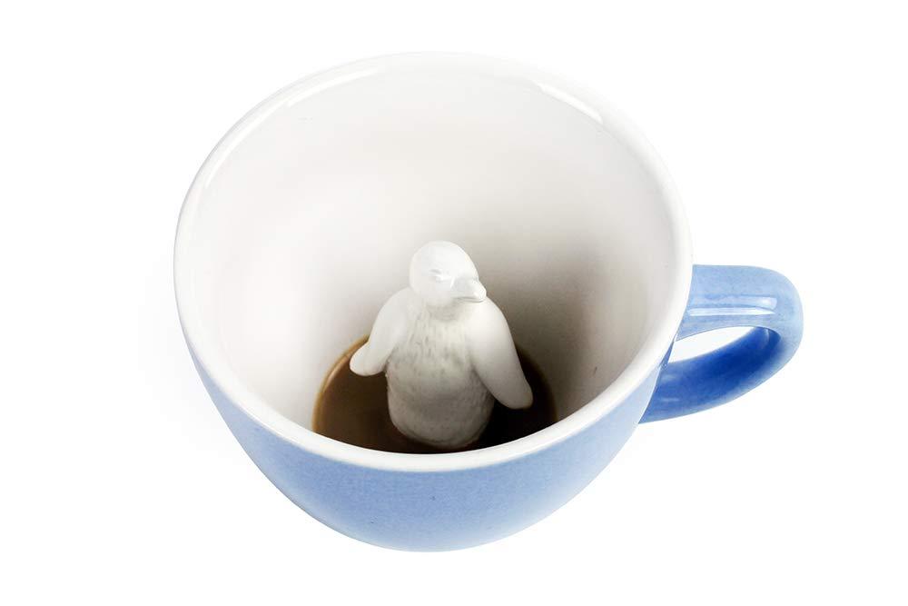 CREATURE CUPS Penguin Ceramic Cup (11 Ounce, Ice Blue)   Hidden Animal Inside   Coffee mugs & tea cups   Holiday gift