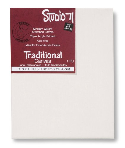 """Studio 71 Medium Weight Traditional Stretched Canvas – 8"""" x 10"""" Painting Canvas for Oil or Acrylic Paints, Triple Acrylic Primed Wood Frame Canvas, Acid-Free"""
