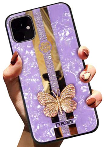 Aulzaju iPhone 11 Luxury Bling Case Built in Diamond, iPhone 11 Cute Stylish Shell Pattern Butterfly Cover Hybrid Hard Shockproof Case for iPhone 11 for Girls Women-Purple