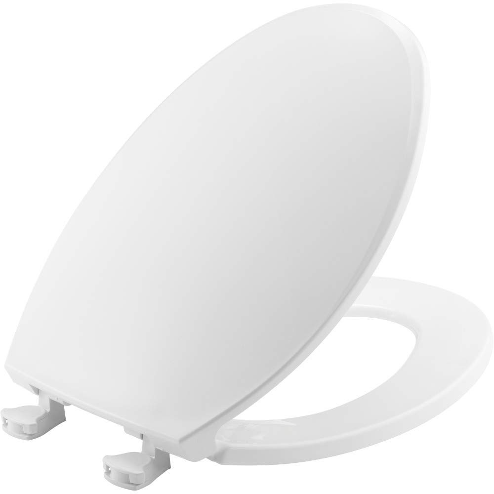 CHURCH 130EC 000 Toilet Seat with Easy Clean & Change Hinges, ELONGATED, Plastic, White