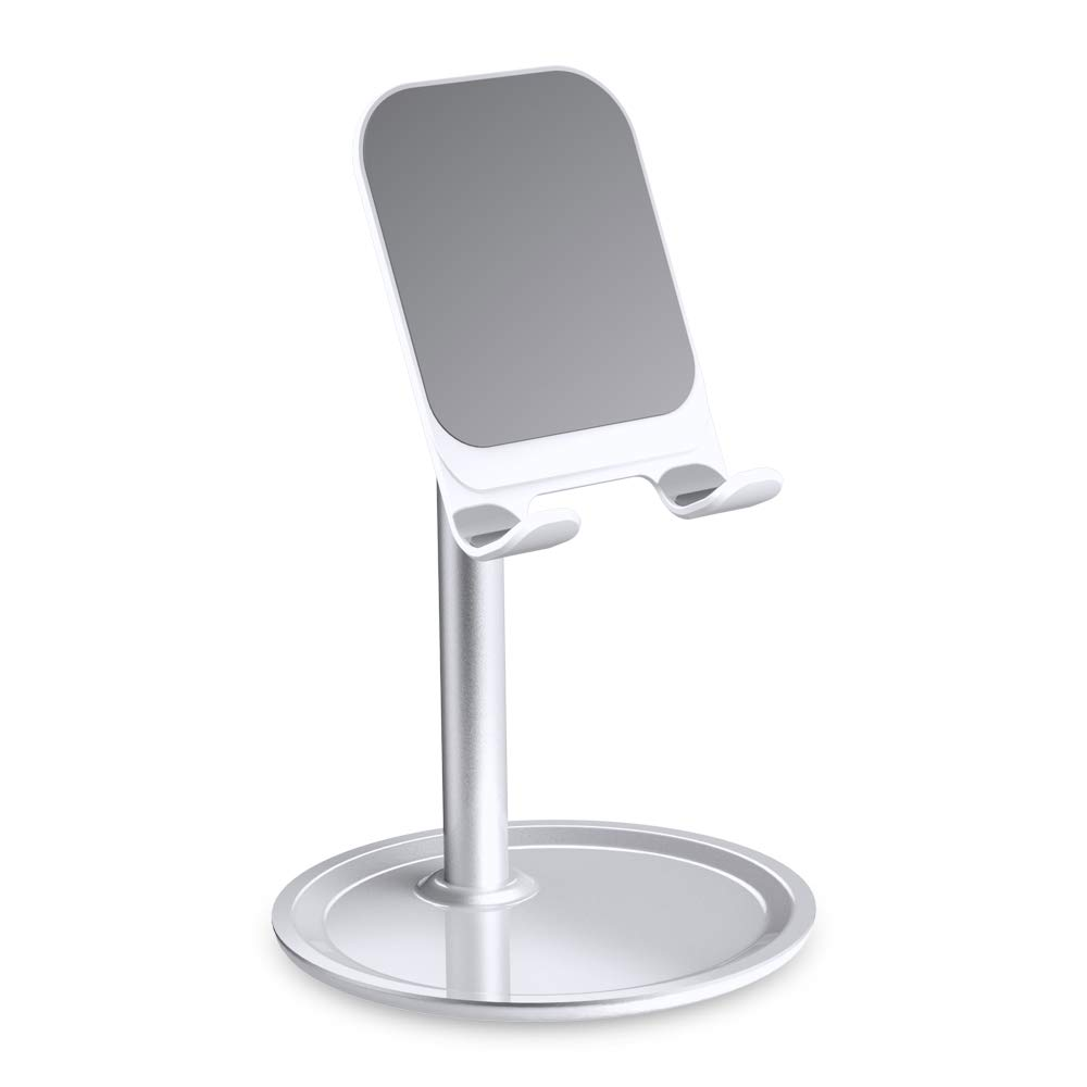 Cell Phone Stand for Desk - FLOVEME Phone Holder Stand for Desktop Adjustable Angle Compatible for iPhone 11 Pro Max, Tablet, Android Smartphone, Aluminum Metal, Silver Color, 4-7.9inch