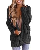 CCBSTS Womens Cable Twist Knit Cardigans Plus Size Open Front Long Sleeve Chunky Sweaters Coats with Pockets Black