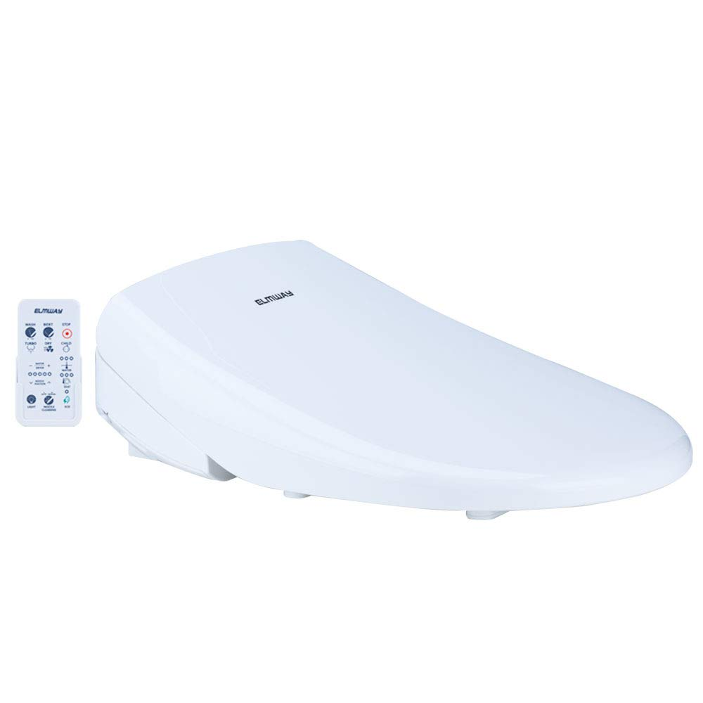 ELMWAY EB-645R Electric Bidet Seat Smart Toilet Seat Elongated White Self Cleaning Nozzle Remote Control Posterior Feminine Child Vortex Wash Adjustable Warm Water and Seat