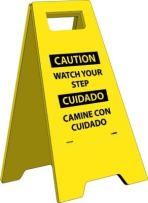 """NMC HDFS208 Bilingual Heavy Duty Floor Stand Sign, Legend """"CAUTION WATCH YOUR STEP"""", 10-3/4"""" Length x 24-5/8"""" Height, Black on Yellow"""